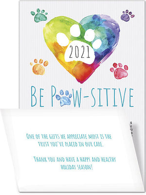 Paw Heart Greeting Card with Tri-Fold Calendar