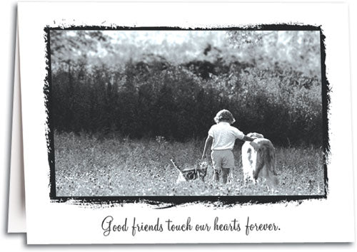 Cat Dog Girl Meadow Sympathy Folding Card