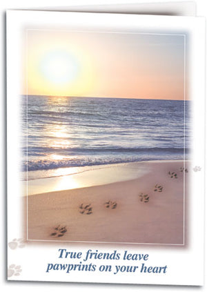 Pawprints in the Sand Sympathy Card