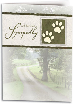 Pawprint Sage Sympathy Folding Card