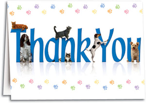 Thank You Colorful Paw Folding Card