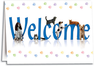 Welcome Colorful Paws Folding Card