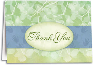 Thank You Green Leaves Folding Card
