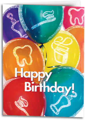 Glittery Birthday Balloons Folding Card