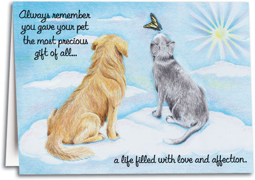 Pets on Clouds Sympathy Folding Card