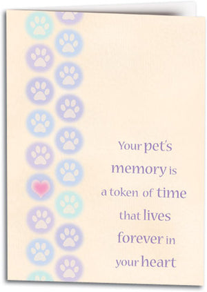 Circle Dot Pawprints Sympathy Folding Card