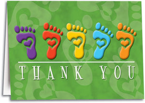 Thank You Feet Hearts Folding Card