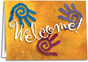 Spiral Hands Welcome Folding Card