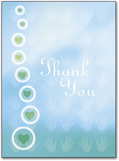 Encircled Hearts Thank You Folding Card