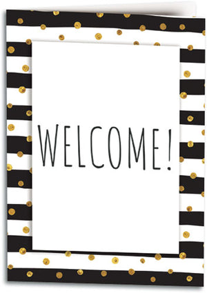 Gold Dots Welcome Folding Card