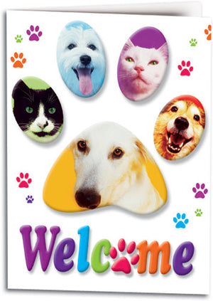 Welcome Pawprints Pets Folding Card