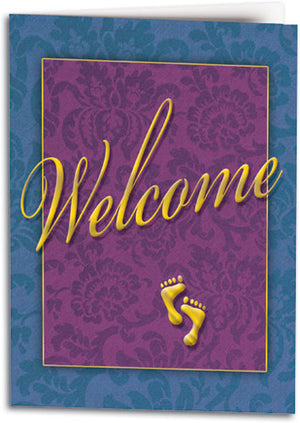 Welcome Floral Feet Folding Card