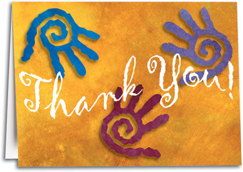 Spiral Hands Thank You Folding Card