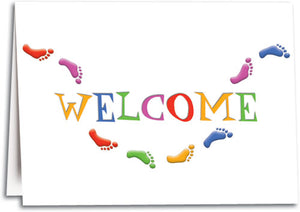 Welcome Many Feet Folding Card
