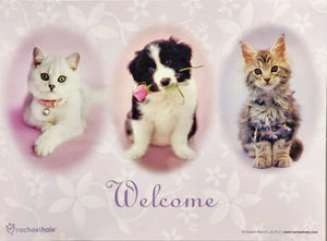 Welcome Kittens & Dog with Rose Folding Card
