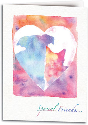 Two Pets Heart Sympathy Folding Card