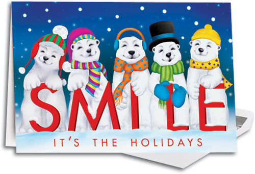 Polar Bear Smile Deluxe Folding Card