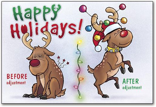 Reindeer Before and After customisable Folding Card