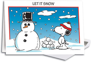 Peanuts Snowman Deluxe Folding Card