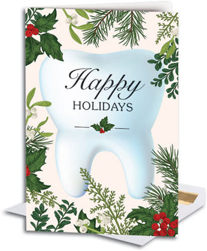 Tooth In Holiday Leaves Customizable Folding Card