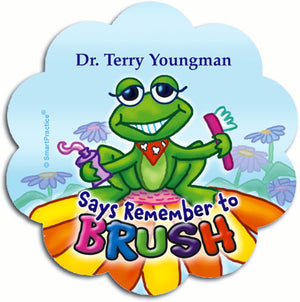 Brushing Frog Personalized Sticker