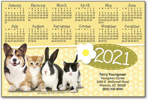 Four Pets/Yellow ReStix™ Sticker Calendar