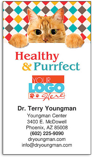 Healthy Purrfect Business Card Magnet