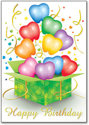 Birthday Box Balloons Postcard