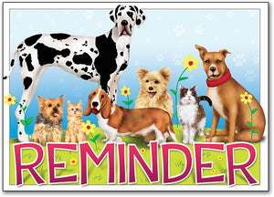 Reminder Word Pets Postcard