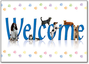 Welcome Colorful Paws Postcard