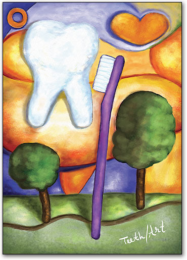 Modern Art Toothbrush Postcard