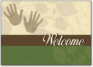 Welcome Green Tan Postcard