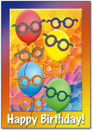 Balloons with Glasses Postcard