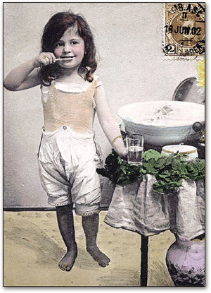 Brushing in Bloomers Postcard