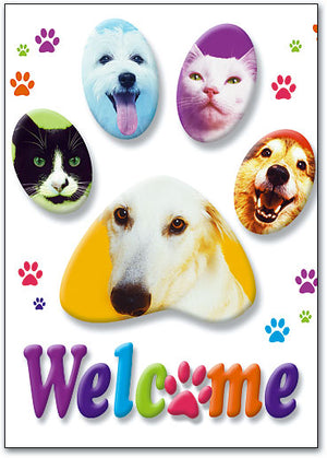 Welcome Animals in white background Postcard