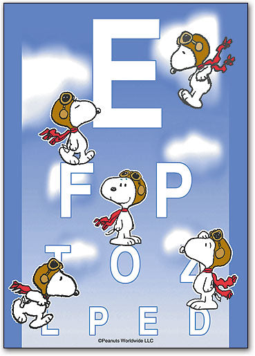 Flying Snoopy Eye Chart Postcard