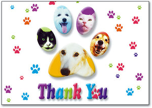 Thank You Animals in white background Postcard