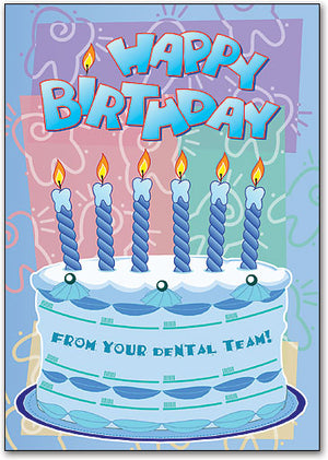 Birthday Cake and Candles Postcard