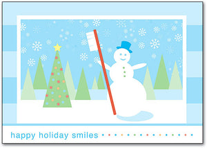 Snowman Smiles Holiday Postcard