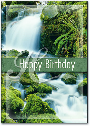 Lush Waterfall Birthday Postcard