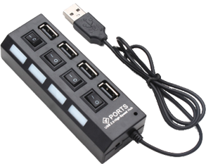 HUB 4 PUERTOS USB HI-SPEED INTERRUPTOR