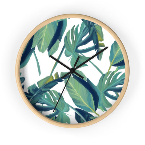 Tropical Leaves Print Wall clock - Salthy