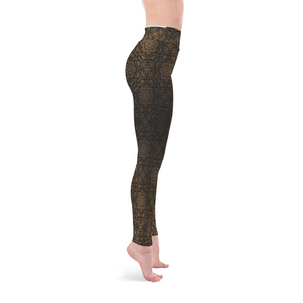 Golden Black Yoga Leggings - Salthy