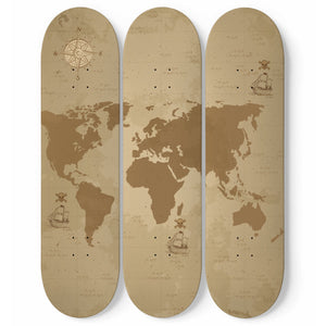 Vintage World Map 3 Skateboard Wall Art - Salthy