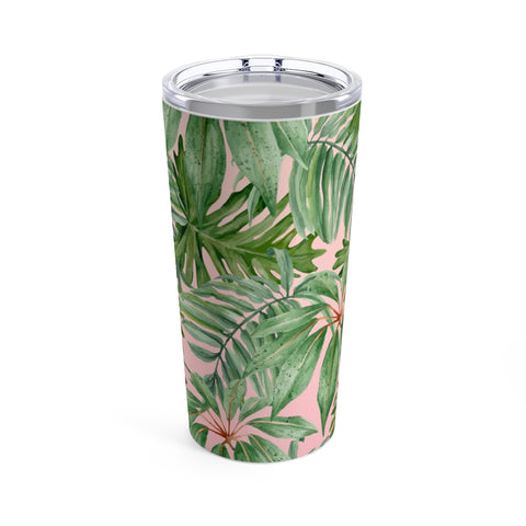 Tropical Palms Pink Print Tumbler 20oz