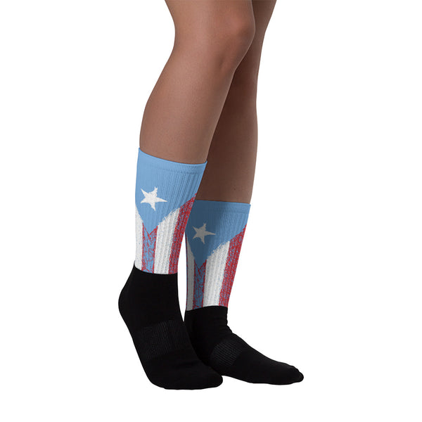 Puerto Rico Drawing Flag Socks