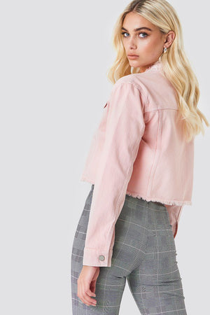 NA-KD Raw Hem Short Denim Jacket Pink