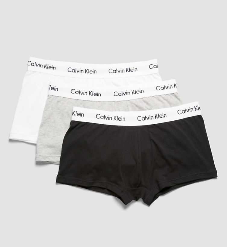 Calvin Klein Cotton Stretch 3-pack Boxer Low Rise Trunk white/grey/black - Mojo Independent Store