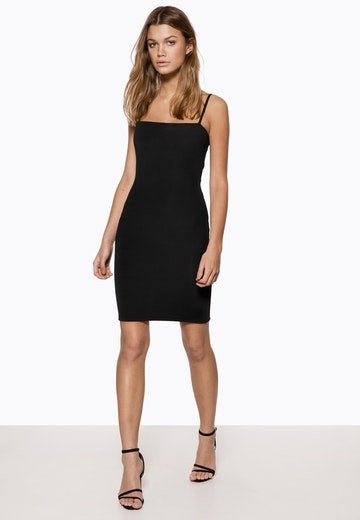 Ivyrevel Square Neck Strap Dress Black