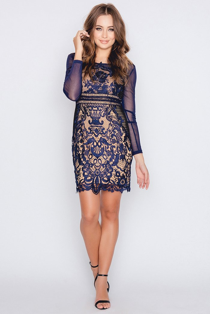 Dry Lake Nix Dress Navy Lace - Mojo Independent Store